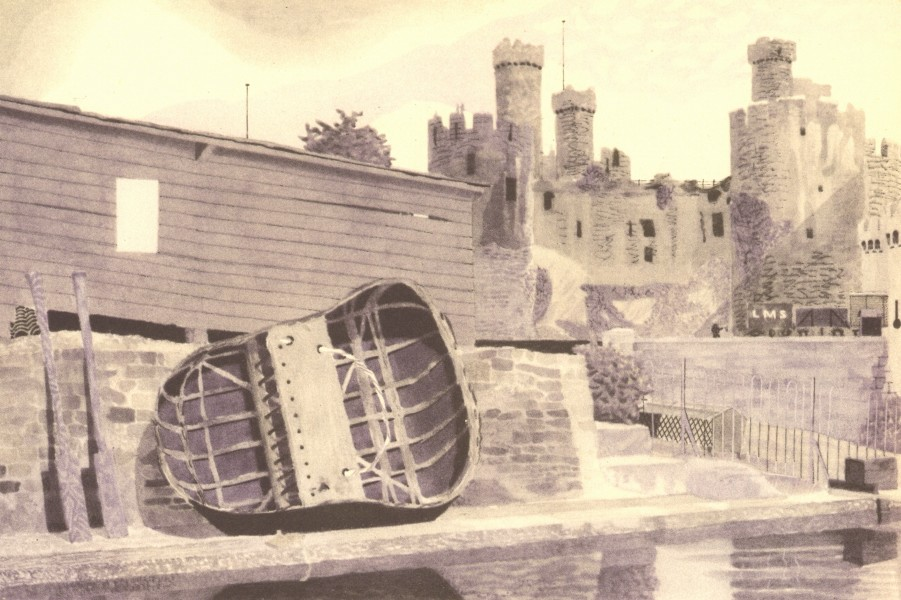 Associate Product WALES. Conway Castle and a Coracle. By Kenneth Rowntree 1948 old vintage print
