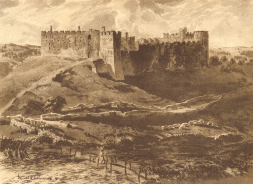 Associate Product WALES. Manorbier Castle. By Donald H Edwards 1948 old vintage print picture