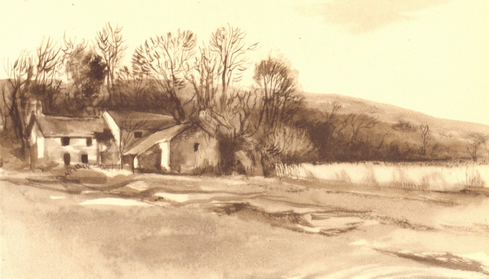 Associate Product CLYNE VALLEY. Old Mill. Wales. By Mona Moore 1948 vintage print picture