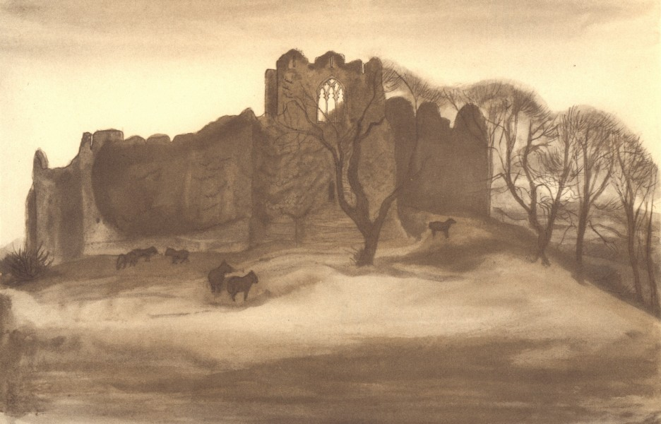 WALES. Oystermouth Castle. By Mona Moore 1948 old vintage print picture