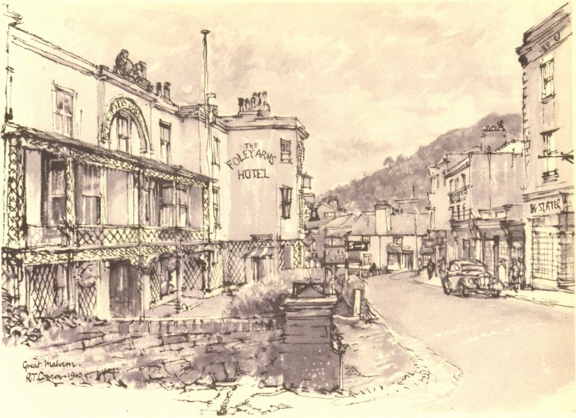 Associate Product MALVERN. The Foley Arms. Worcestershire. By Raymond T Cowern 1948 old print