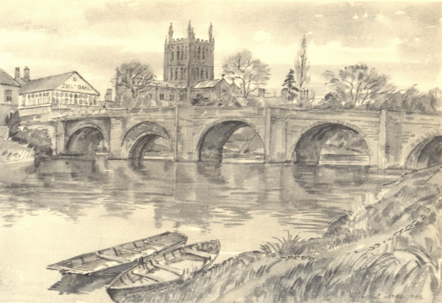 Associate Product HEREFORDSHIRE. Wye Bridge. By Vincent Lines 1948 old vintage print picture