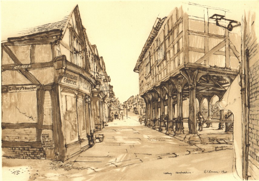 Associate Product LEDBURY. Market House. Herefordshire. By Raymond T Cowern 1948 old print
