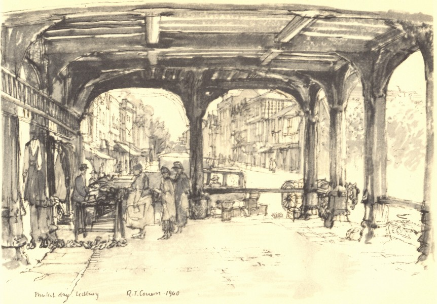 Associate Product LEDBURY. Market-day. Herefordshire. By Raymond T Cowern 1948 old vintage print