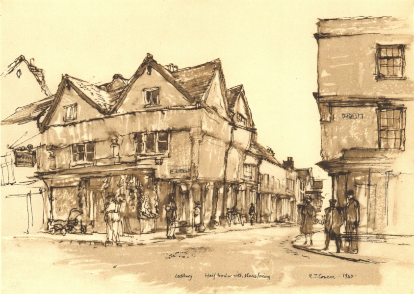 Associate Product LEDBURY. Entrance to New Street. Herefordshire. By Raymond T Cowern 1948 print