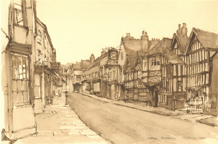 Associate Product LEDBURY. Old Talbot Hotel. Herefordshire. By Raymond T Cowern 1948 print