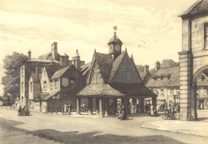 Associate Product WITNEY. Butter Cross. Oxfordshire. By Stanley Anderson 1948 old vintage print