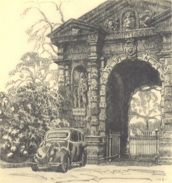 Associate Product OXFORD. Entrance to Botanical Garden. Oxfordshire. By Walter Bayes 1948 print