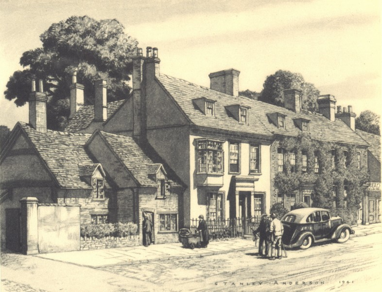 Associate Product THAME. Houses. Oxfordshire. By Stanley Anderson 1948 old vintage print picture
