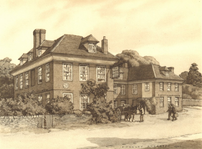 Associate Product TETSWORTH. The Swan. Oxfordshire. By Stanley Anderson 1948 old vintage print