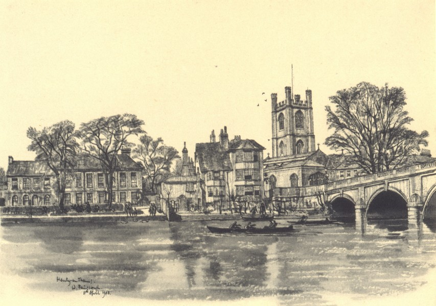 Associate Product OXFORDSHIRE. Henley Bridge. By W Fairclough 1948 old vintage print picture