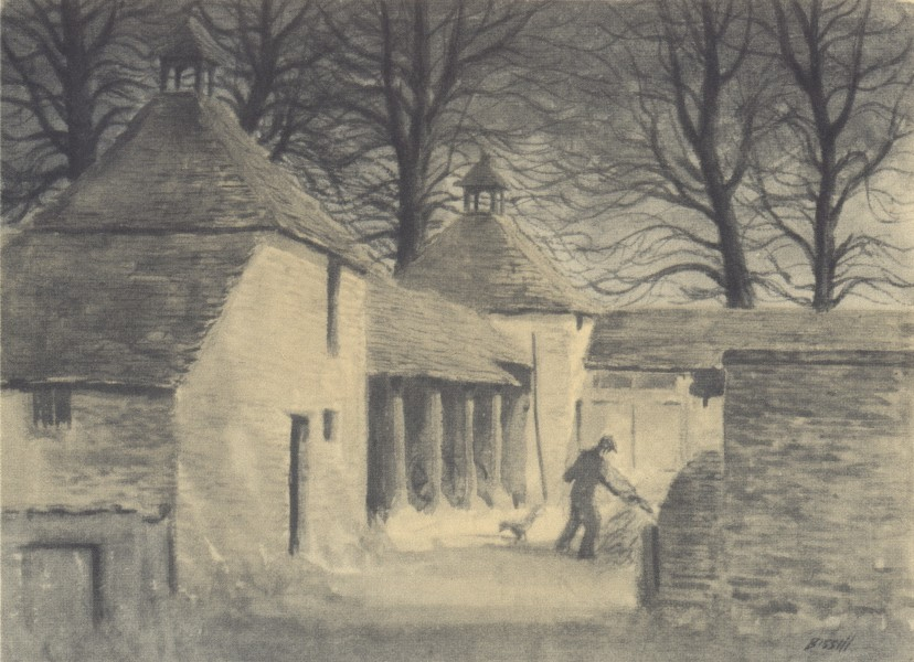 COLN ST. ALDWYN. Double Dovecot. Gloucestershire. By George Bissill 1948 print