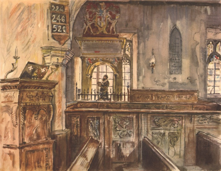 Associate Product LYDIARD TREGOZE. Pew and Monument, St. Mary's. Wiltshire. By Vincent Lines 1949