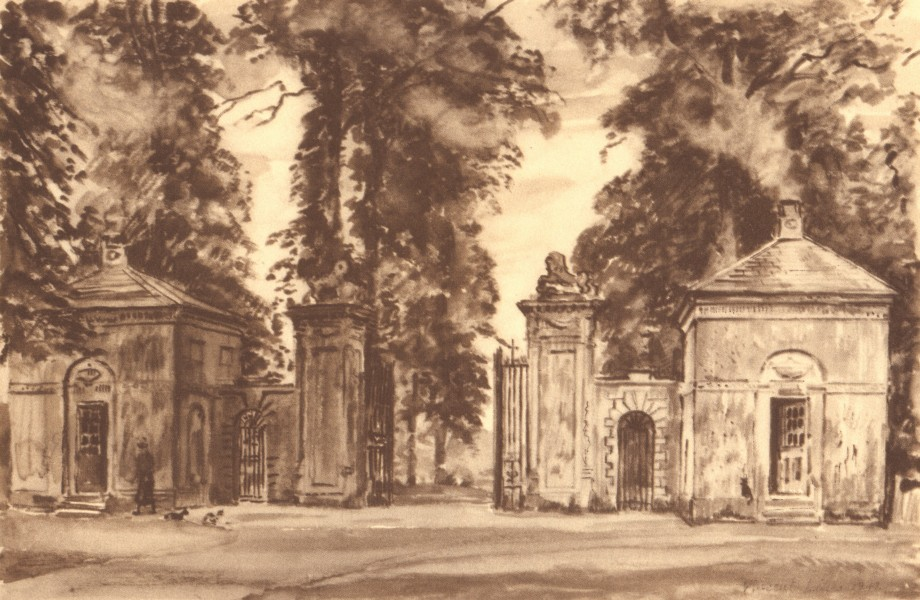 Associate Product RAMSBURY MANOR. Entrance. Wiltshire. By Vincent Lines 1949 old vintage print