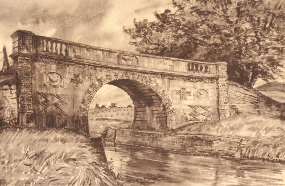 Associate Product WILCOT. Lady Bridge. Wiltshire. By Vincent Lines 1949 old vintage print