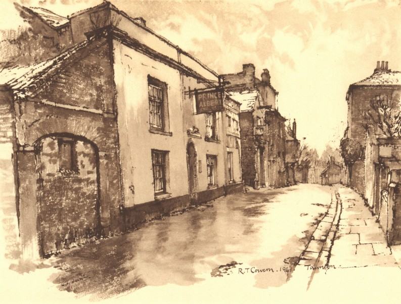 TAUNTON. Mary Street. Somerset. By Raymond T Cowern 1949 old vintage print