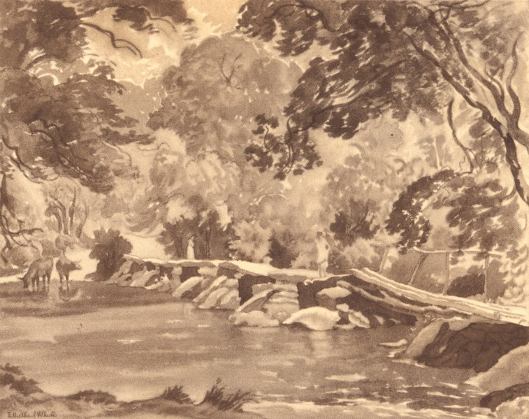 Associate Product SOMERSET. Tarr Steps. By Ethelbert White 1949 old vintage print picture