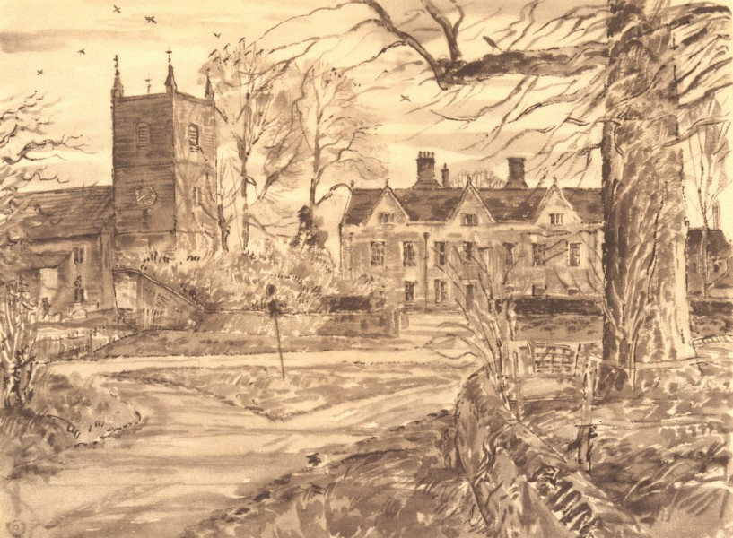 Associate Product FROYLE. Church and House. Hampshire. By Vincent Lines 1949 old vintage print