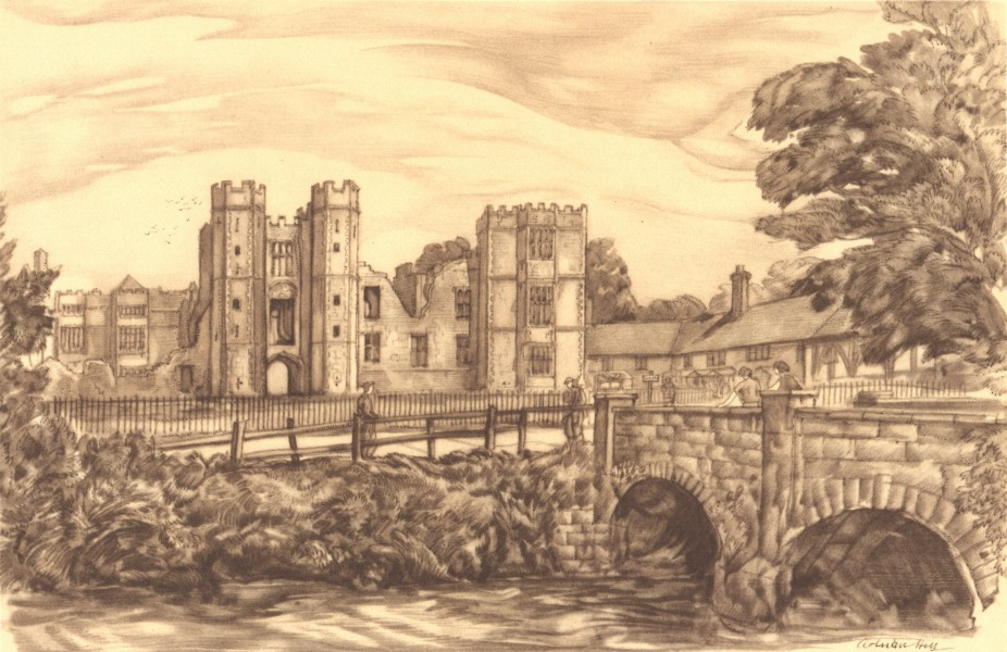 Associate Product MIDHURST. Cowdray Ruins. Sussex. By Adrian Hill 1949 old vintage print picture