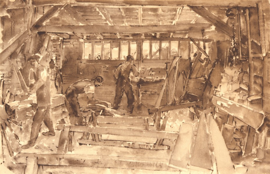 Associate Product NEWINGTON. Timber Yard. Kent. By Thomas Hennell 1949 old vintage print picture