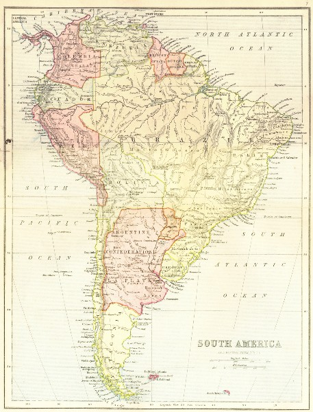 Associate Product MAPS. South America 1870 old antique vintage plan chart