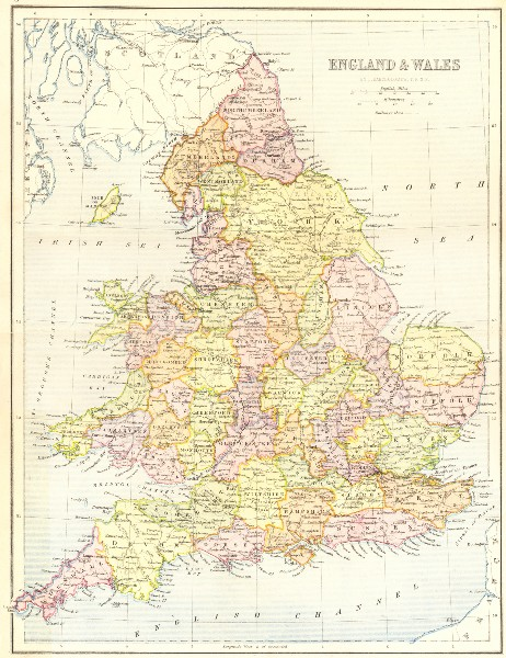 Associate Product UK. England Wales 1870 old antique vintage map plan chart
