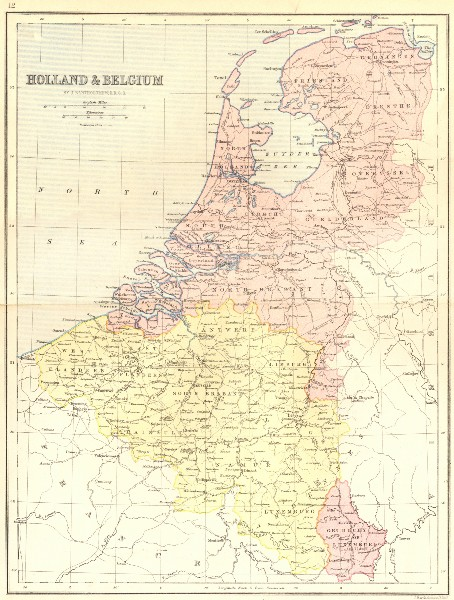 Holland /& Belgium Netherlands Vintage Reproduction Antique Old Color Repro Map