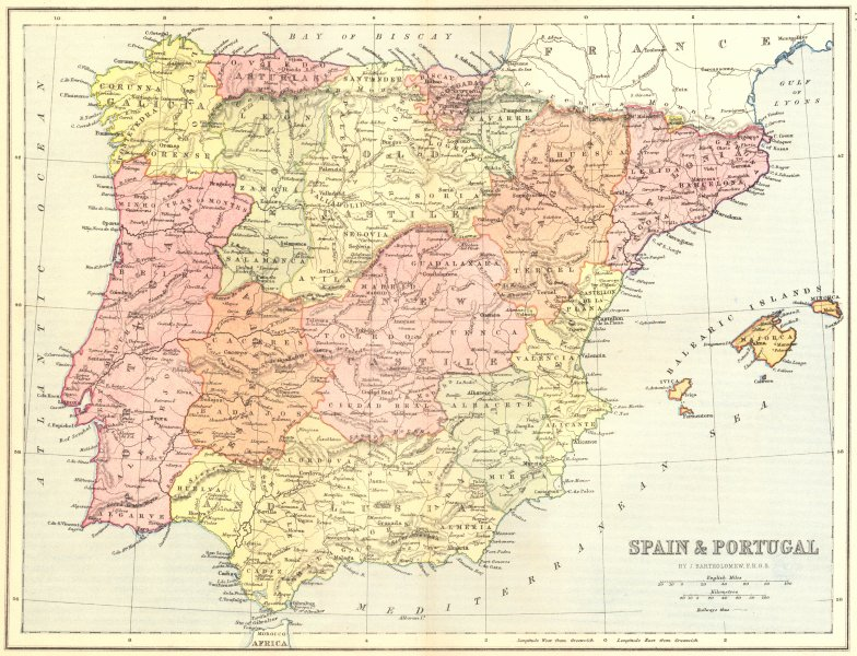 Associate Product SPAIN. & Portugal 1870 old antique vintage map plan chart