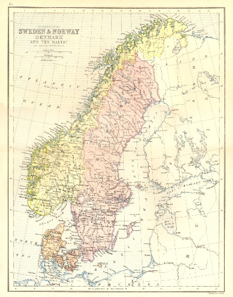 Associate Product SWEDEN. & Norway, Denmark & Baltic 1870 old antique vintage map plan chart
