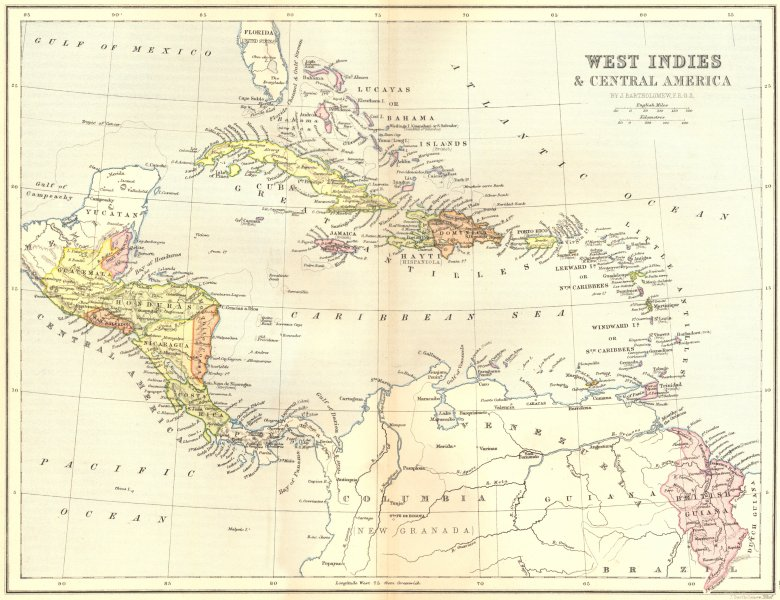 Associate Product WEST INDIES. & Central America 1870 old antique vintage map plan chart