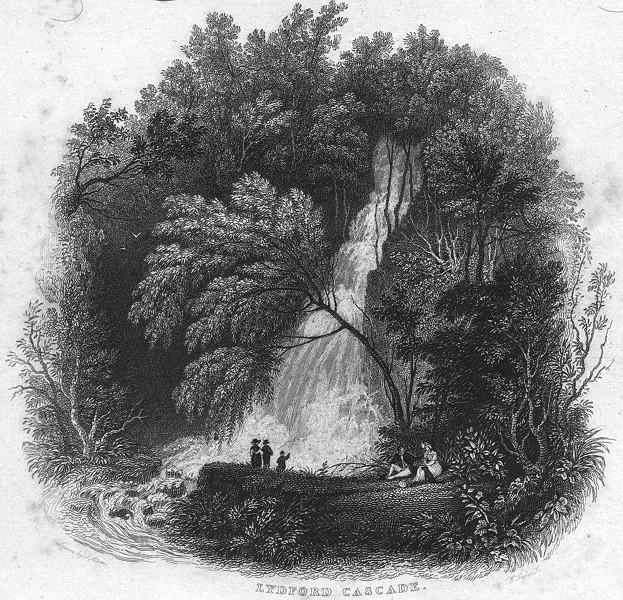 Associate Product DEVON. Lydford Cascade 1829 old antique vintage print picture