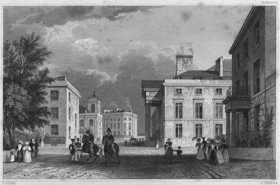 Associate Product DEVON. The Royal Hotel and St. Andrew's Chapel and Terrace 1829 old print