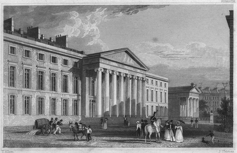 Associate Product DEVON. Royal Theatre, and Athenaeum 1829 old antique vintage print picture