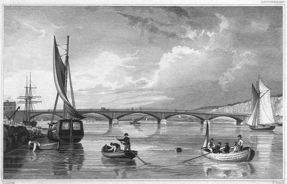 Associate Product DEVON. The Lary Bridge, over the Plym, or Saltram Creek 1829 old antique print