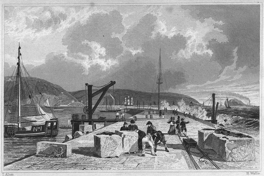 Associate Product DEVON. Plymouth Breakwater, from the West 1829 old antique print picture