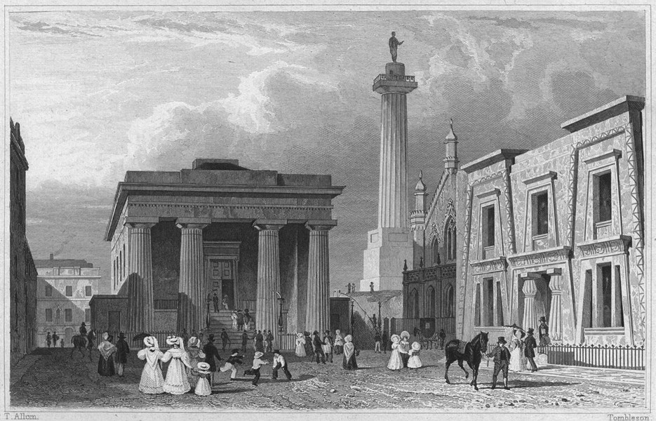 Associate Product DEVON. The Town Hall, Column and Library, Devonport 1829 old antique print