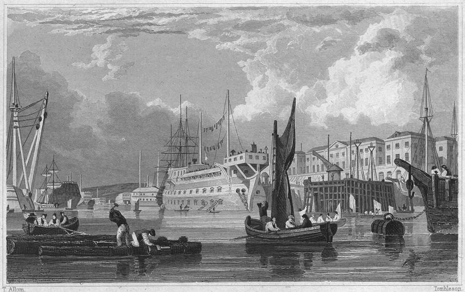Associate Product DEVON. Dockyard and Harbour, Devonport 1829 old antique vintage print picture
