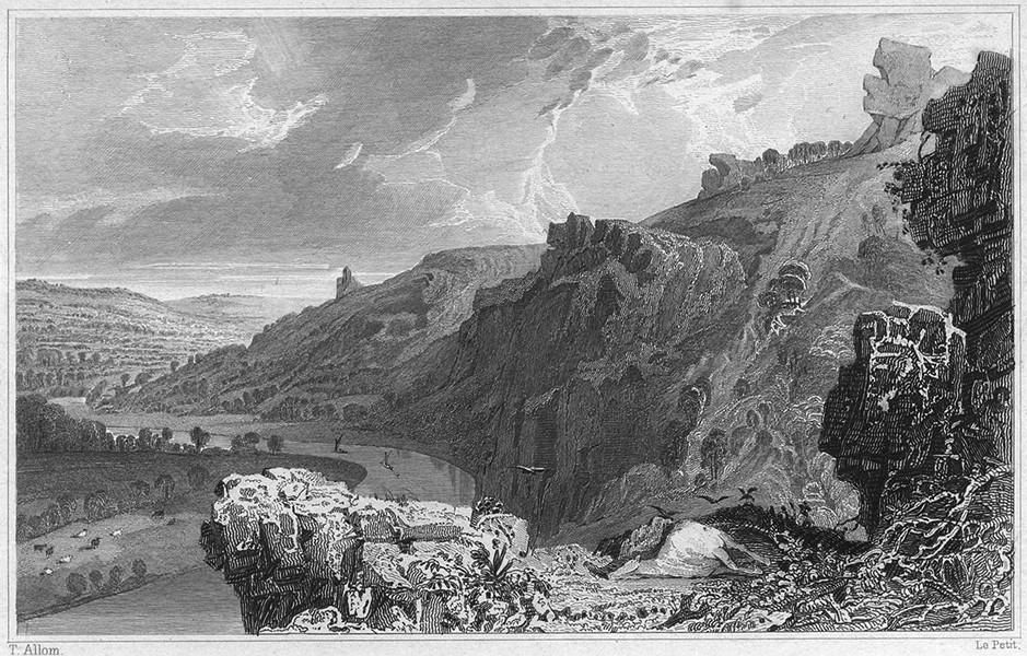 Associate Product DEVON. The Morwell Rocks, on the River Tamar, Devon & Cornwall 1829 old print