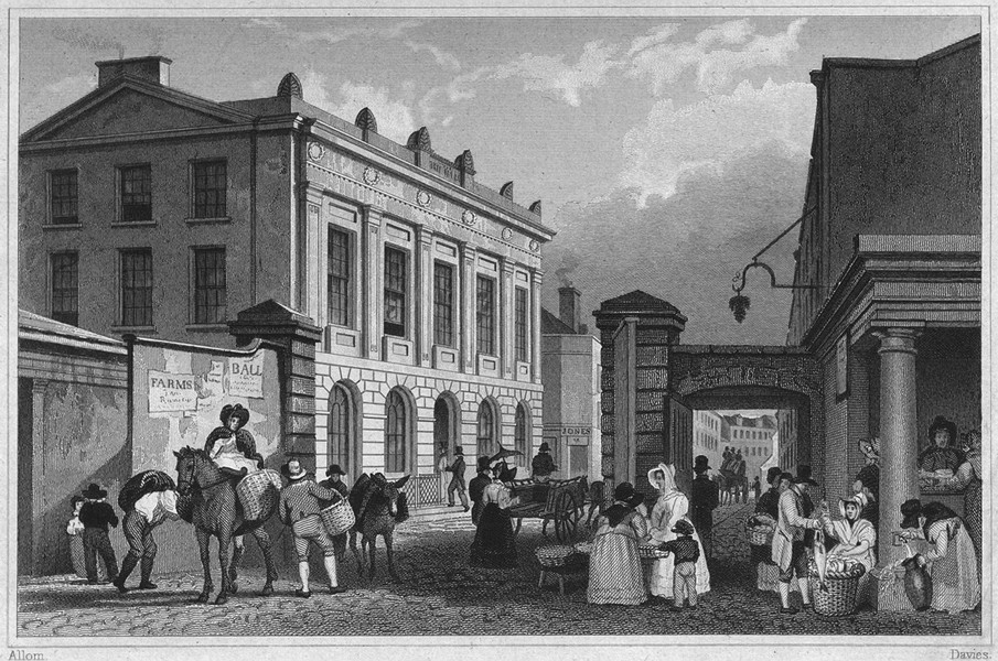 Associate Product DEVON. Freemason's-Hall, Plymouth 1829 old antique vintage print picture