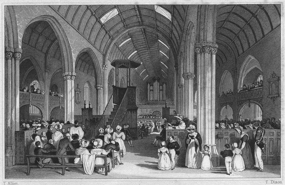 Associate Product DEVON. Interior of St Andrew's Church, Plymouth 1829 old antique print picture