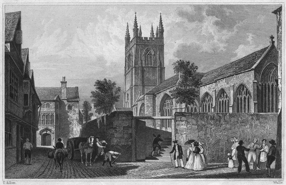 Associate Product DEVON. St. Andrew's Church, Plymouth 1829 old antique vintage print picture