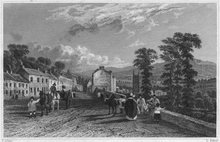 Associate Product DEVON. Tavistock, from the Launceston Road 1829 old antique print picture