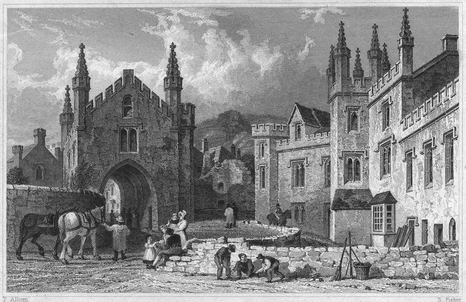 Associate Product DEVON. Tavistock Abbey 1829 old antique vintage print picture