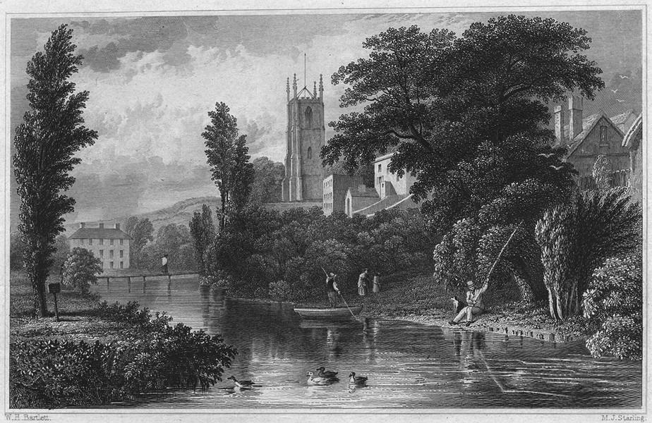 Associate Product DEVON. Tiverton Church, from the Bridge 1829 old antique vintage print picture