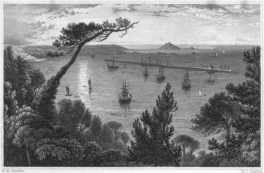 Associate Product DEVON. The Breakwater, from Mount Edgcumbe, Plymouth 1829 old antique print