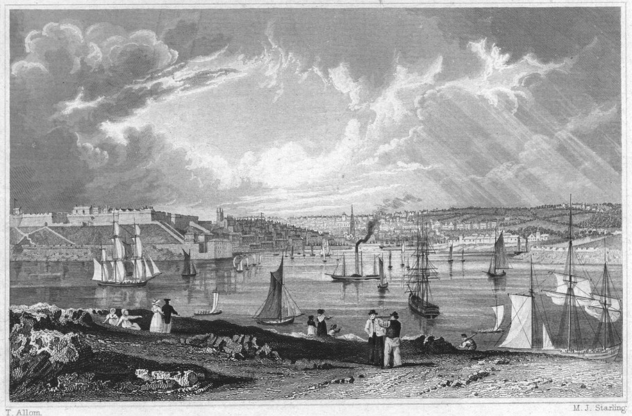 Associate Product DEVON. Citadel, Pool, Queen Anne's Battery, &c. Plymouth 1829 old print