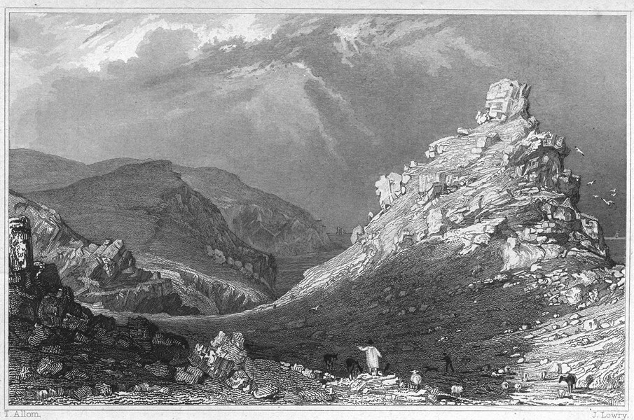 Associate Product DEVON. The Valley of Rocks, near Linton 1829 old antique vintage print picture