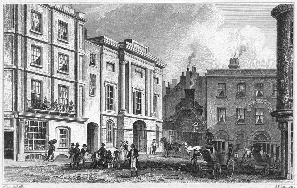 Associate Product DEVON. The Subscription Rooms and New London Inn, Exeter 1829 old print