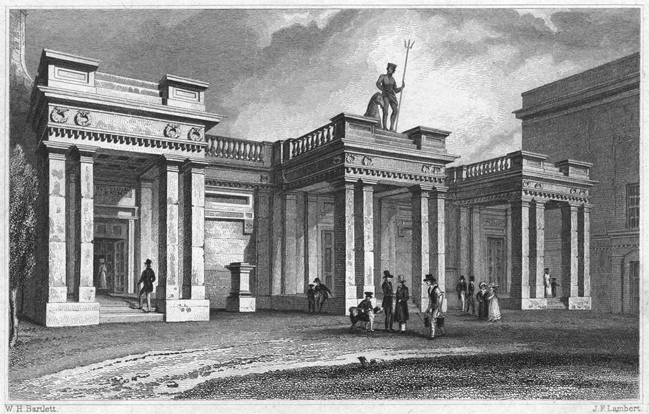 Associate Product DEVON. The Baths, Southernhay, Exeter 1829 old antique vintage print picture