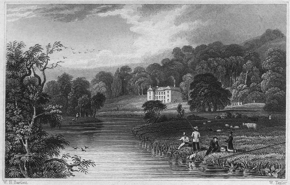 Associate Product DEVON. Collipriest House, on the river Exe, near Tiverton 1829 old print